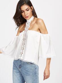 White Choker Off The Shoulder Crochet Insert Top