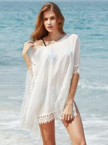 Crochet Trim Slit Side Beach Cover Up