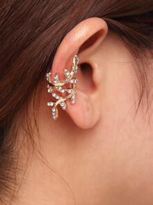 Gold Rhinestone Leaf Shape Ear Cuff