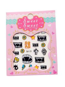 Vampire Tooth Pattern Nail Sticker