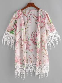 Multicolor Blossom Print Floral Lace Trim Kimono