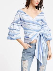 Blue Striped Layered Sleeve Surplice Wrap Top