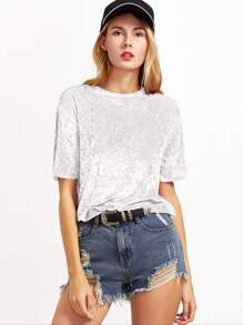White Crushed Velvet T-shirt