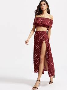 Polka Dot Ruffle Crop Top With Split Skirt