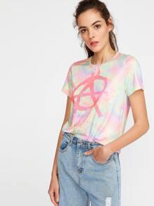 Multicolor Pastel Tie Dye Print T-shirt