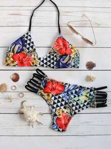Floral Print Ladder Cutout Halter Bikini Set