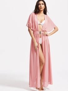 Pink Batwing Interlock Waist Maxi Kimono