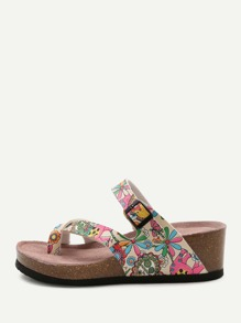 Floral Print Toe Ring Wedge Sandals
