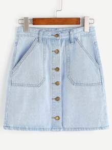 Light Blue Single Breasted Pockets Denim Skirt