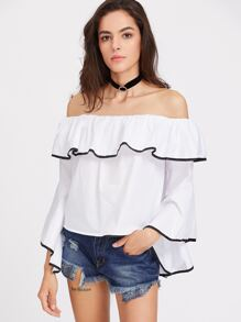 Flounce Layered Neckline Contrast Binding Blouse