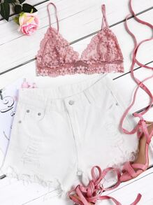 Hollow Out Triangle Floral Lace Bralette