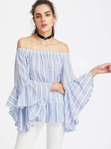 Exaggerated Fluted Sleeve Frill Hem Striped Bardot Top