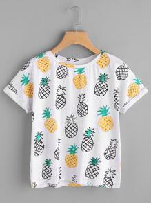 Allover Pineapple Print Roll Cuff T-shirt