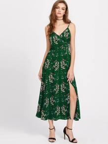 Calico Print Slit Side Slip Dress
