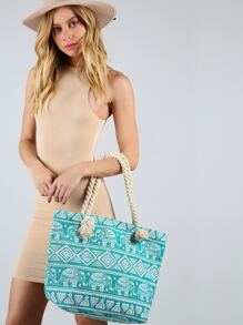 Printed Rope Canvas Tote Bag GREEN