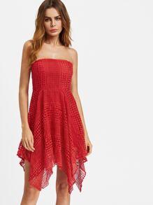 Geo Lace Overlay Handkerchief Bandeau Dress