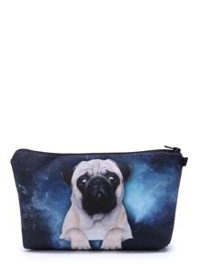 Bulldog & Galaxy Print Makeup Bag