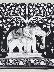 Two Tone Elephant Print Beach Blanket