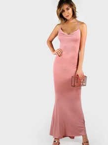 Low Cowl Backless Maxi Dress BLUSH
