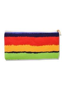 Color Block Canvas Makeup Bag