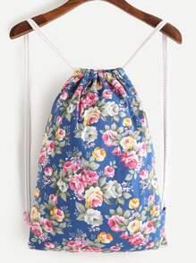Calico Print Drawstring Backpack