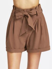 Pleated Waist Self Belted Cuffed Hem Tailored Shorts