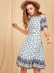 Tribal Print Short Sleeve Dress