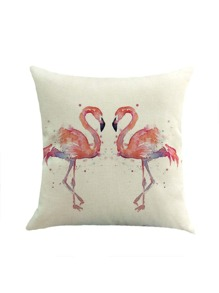 Watercolor Flamingo Print Pillowcase Cover