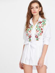 Flower Embroidered Self Belted Curved Shirt Dress