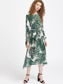 Tropical Print Tie Cuff Tea Length Dress With Self Tie