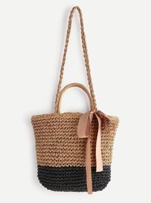 Tassel Detail Color Block Straw Shoulder Bag With Handle