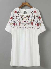 Flower Embroidery Cut Out Back Dress