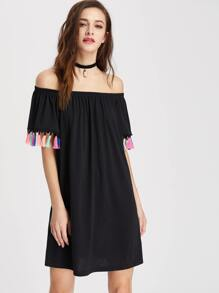 Tassel Trim Elastic Bardot Neck Dress