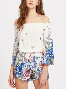 Frill Off Shoulder Blouson Botanical Playsuit