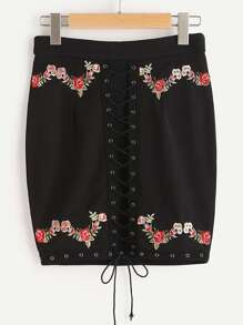 Lace Up Grommet Flower Embroidery Skirt