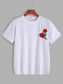 Flower Embroidered Tee