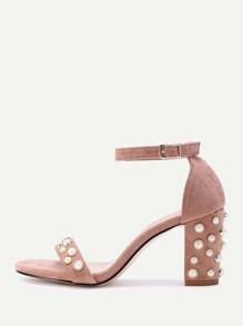 Faux Pearl Detail Two Part Block Heel Sandals