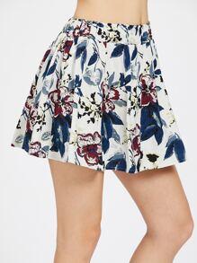 Elastic Waist Floral Flare Skirt