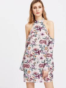 Halterneck Floral Keyhole Back Dress