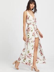 Plunging V-Neckline Open Back High Low Dress