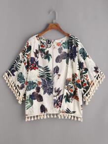 Tropical Print Fringe Trim Kimono