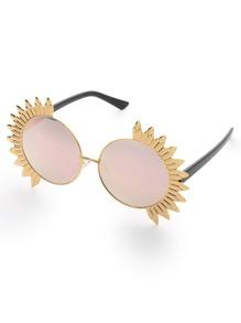 Exaggerated Trim Round Sunglasses