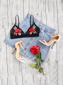 Embroidered Rose Applique Mesh Triangle Bralette