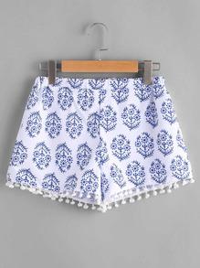 Print Pom Pom Trim Shorts