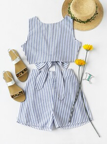 Convertible Vertical Striped Bow Tie Crop Top With Shorts