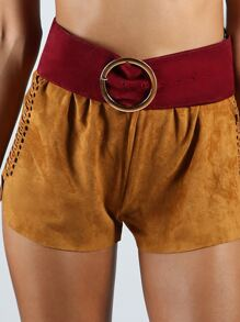 Thick Suede Circle Belt BURGUNDY