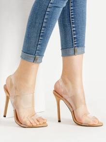 Clear Strap Stiletto Sandals