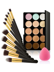 Concealer Palette And Makeup Brush Set With Puff