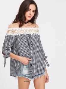 Floral Crochet Neckline Self Tie Sleeve Gingham Top