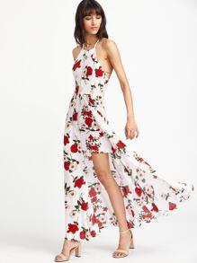 Calico Print Hollow Out Slit Crisscross Back Dress
